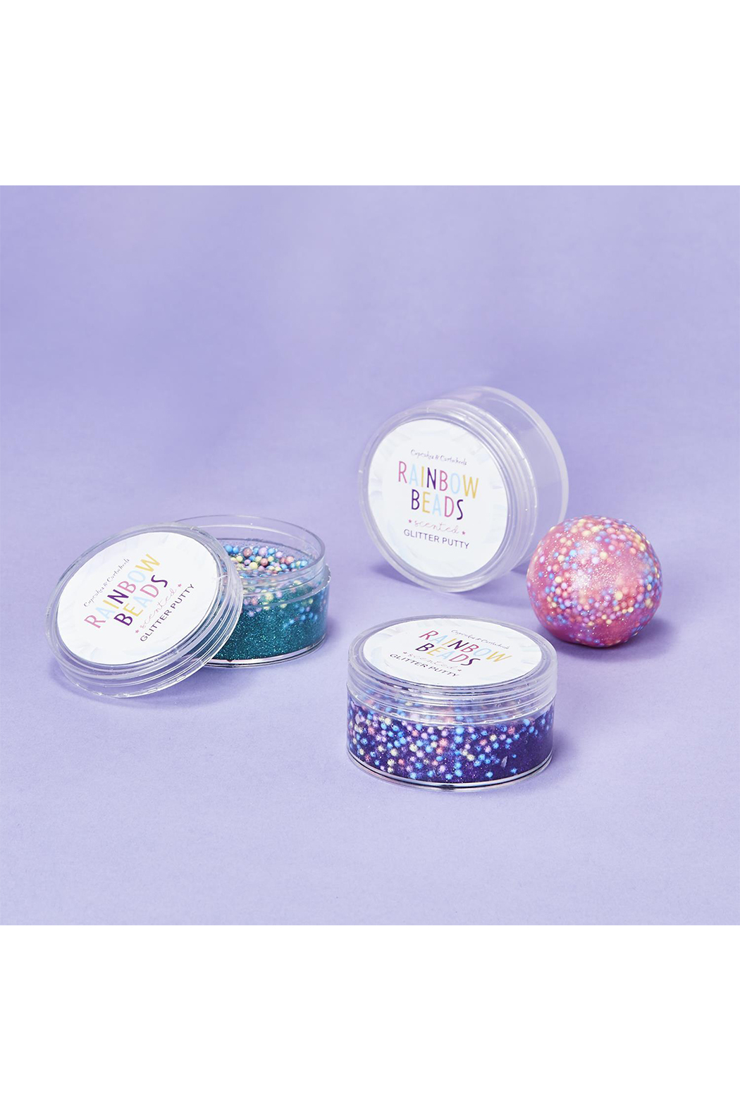 Cupcake and Cartwheels Popping Rainbow Beads Scented Glitter Putty - Front Full Image