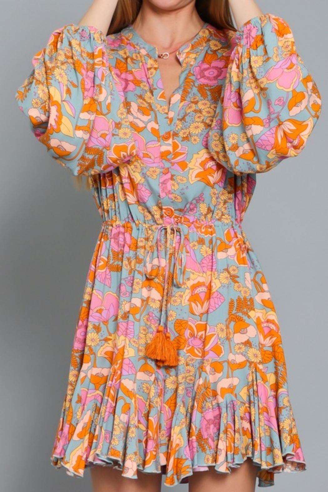 AAKAA Poppy Floral Dress - Back Cropped Image