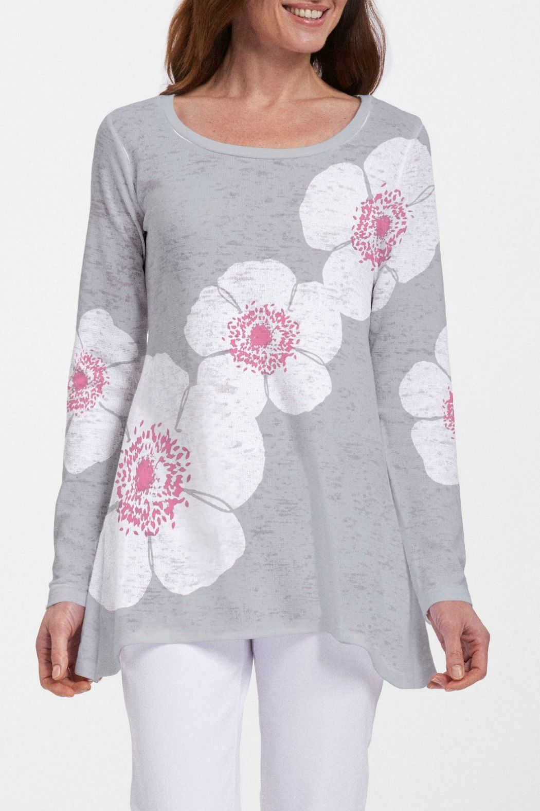 Whimsy Rose Poppy Grey Abigail Tunic - Front Cropped Image