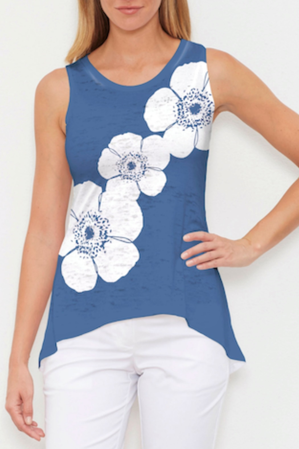 Whimsy Rose Poppy Navy Hi-Low Tank - Front Cropped Image
