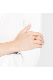 Julie Vos Poppy Stacking Rings Gold-Pearl (Set Of 2) Size 7 - Front full body