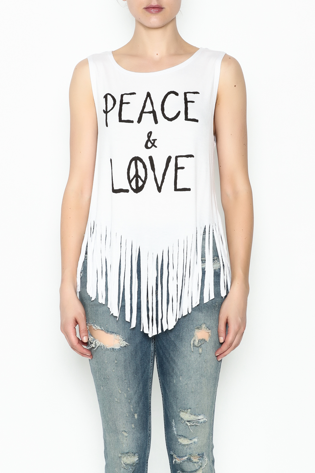 Popular Basics White Fringed Tank Top - Front Full Image