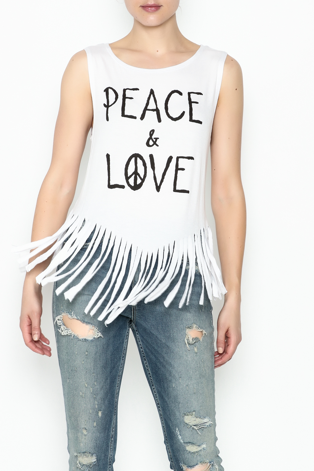 Popular Basics White Fringed Tank Top - Front Cropped Image