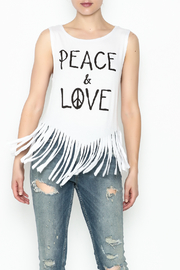 Popular Basics White Fringed Tank Top - Front cropped
