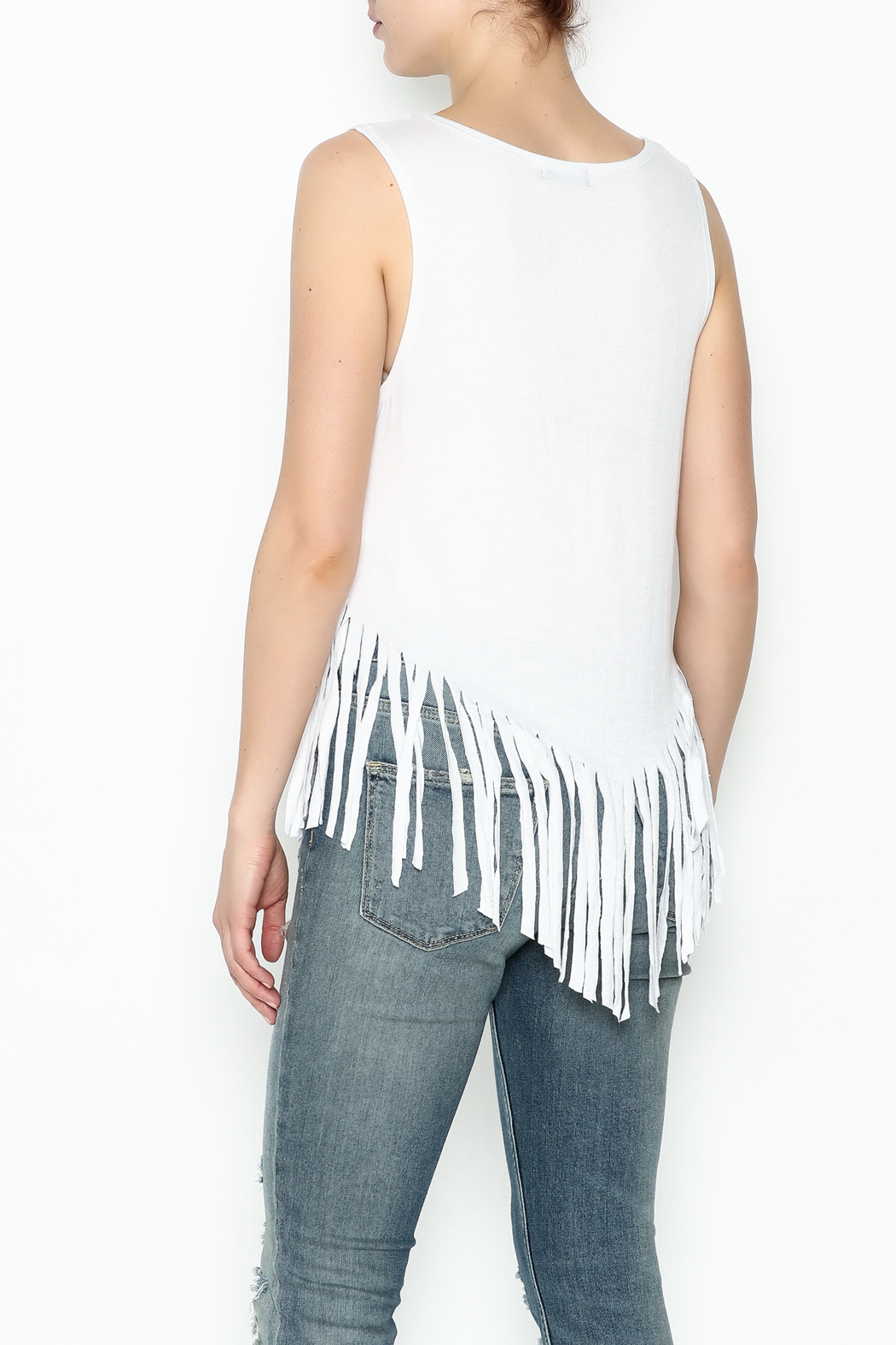 Popular Basics White Fringed Tank Top - Back Cropped Image