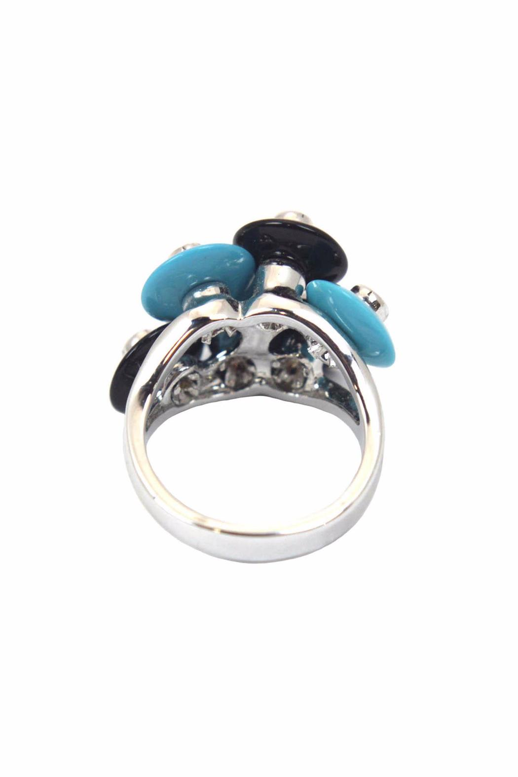 Popular Design, Inc. Turquoise & Onyx Ring - Front Full Image