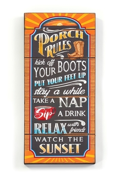 Giftcraft Inc.  Porch Rules SIgn - Alternate List Image