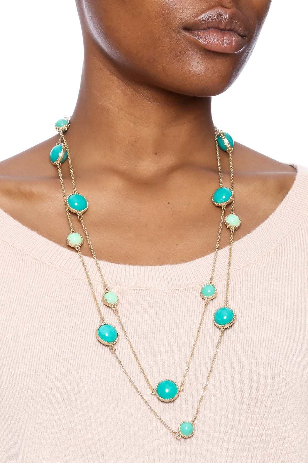 Potissi Green Marble Long Necklace - Back Cropped Image