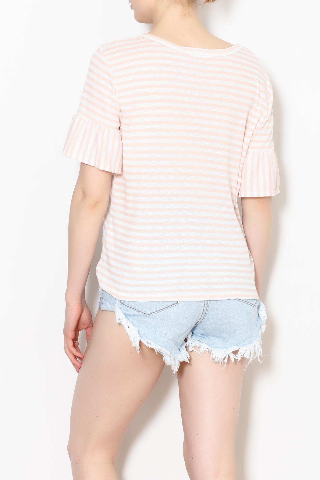 Potter's Pot Peach Stripe Knit - Back Cropped Image