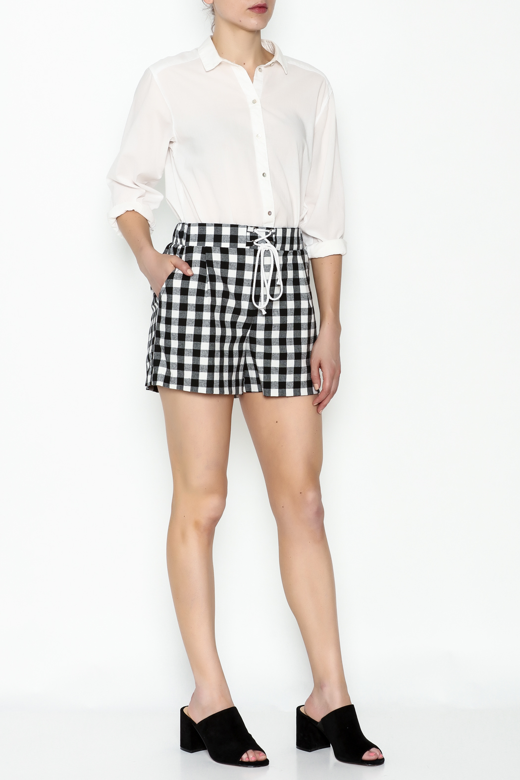 Potter's Pot Plaid Shorts - Side Cropped Image