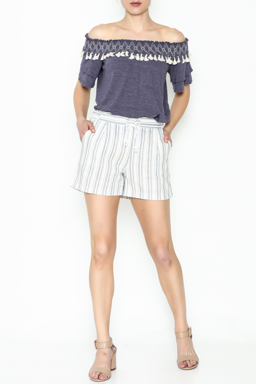Potter's Pot Striped Shorts - Side Cropped Image