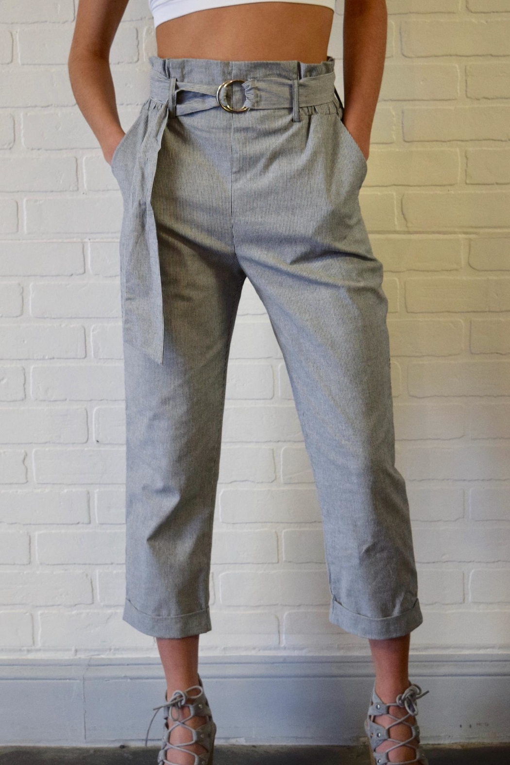 Potter's Pot Belted Striped Trousers - Main Image