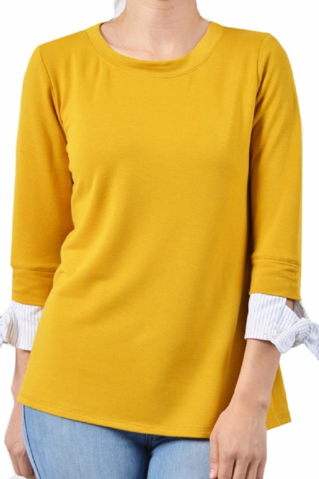 Potter's Pot Contrast Sleeve Top - Side Cropped Image