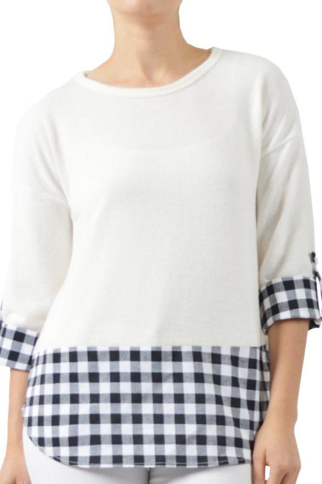 Potter's Pot Fleece Gingham Top - Front Cropped Image