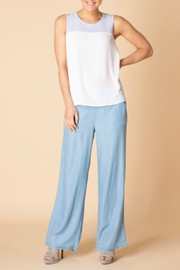 Yest Powder Blue and White SleevelessTop - Front cropped