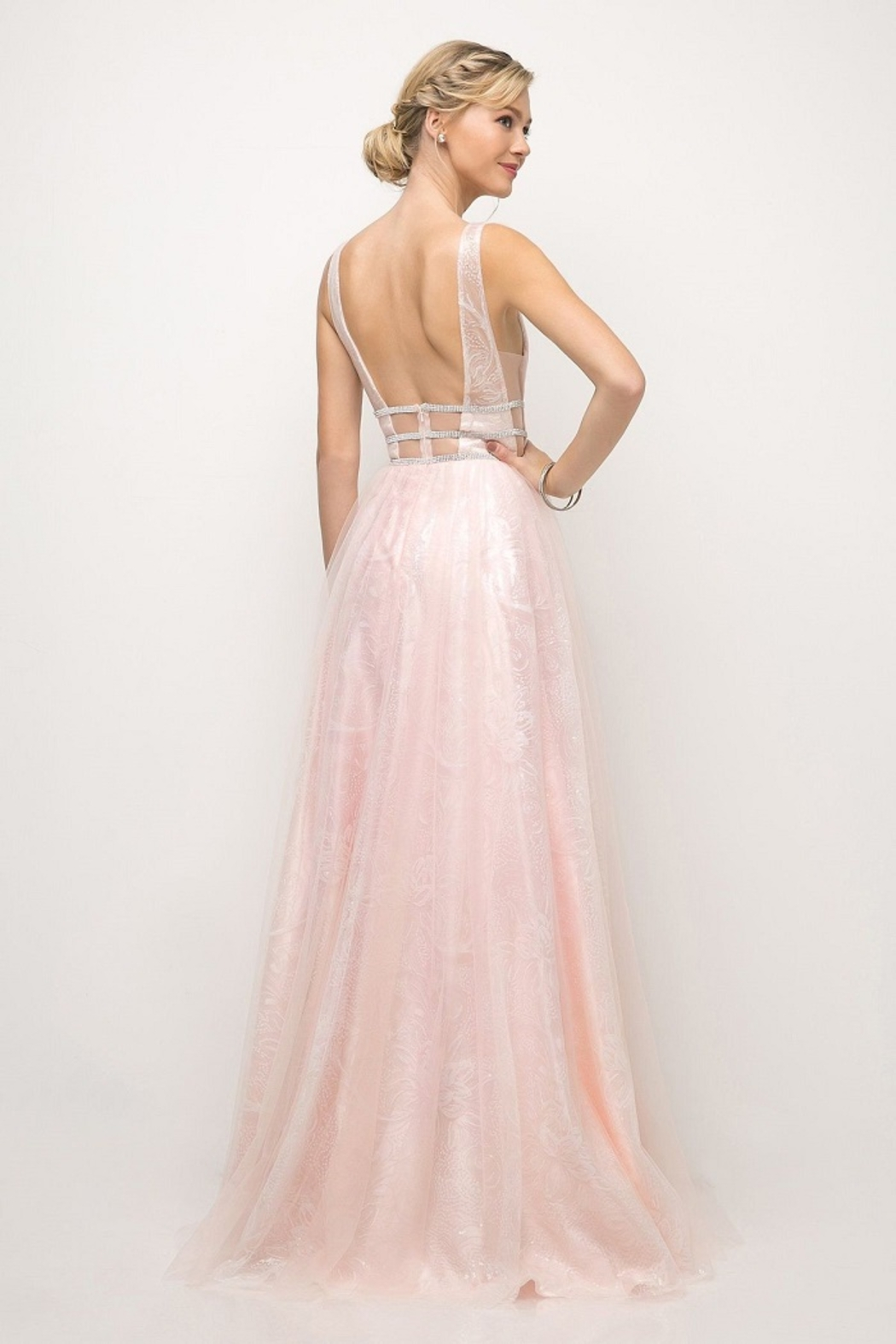 Cinderella Divine Powder Pink A-Line Long Formal Dress - Front Full Image