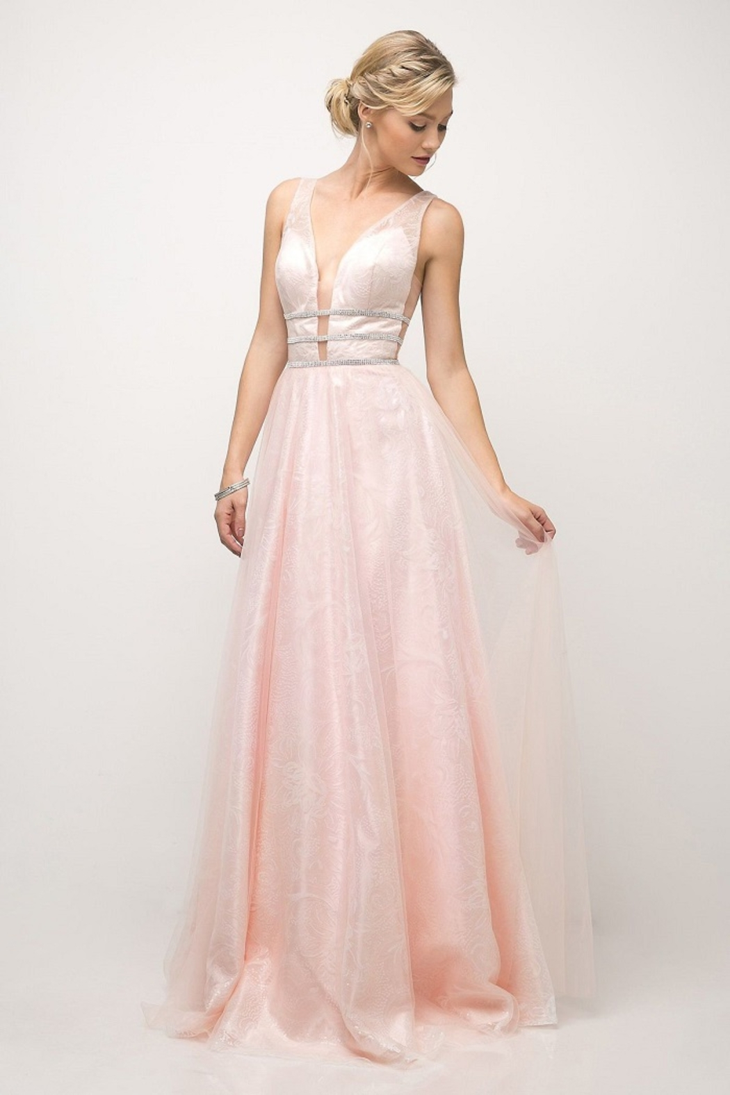 Cinderella Divine Powder Pink A-Line Long Formal Dress - Main Image