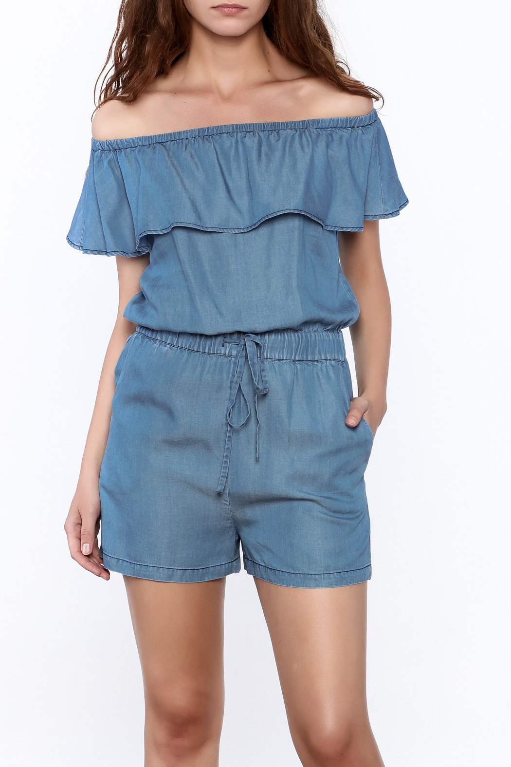 69a6bd6930d PPLA Off Shoulder Denim Romper from Texas by Stephanie s Stuff ...