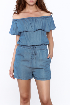 Shoptiques Product: Off Shoulder Denim Romper