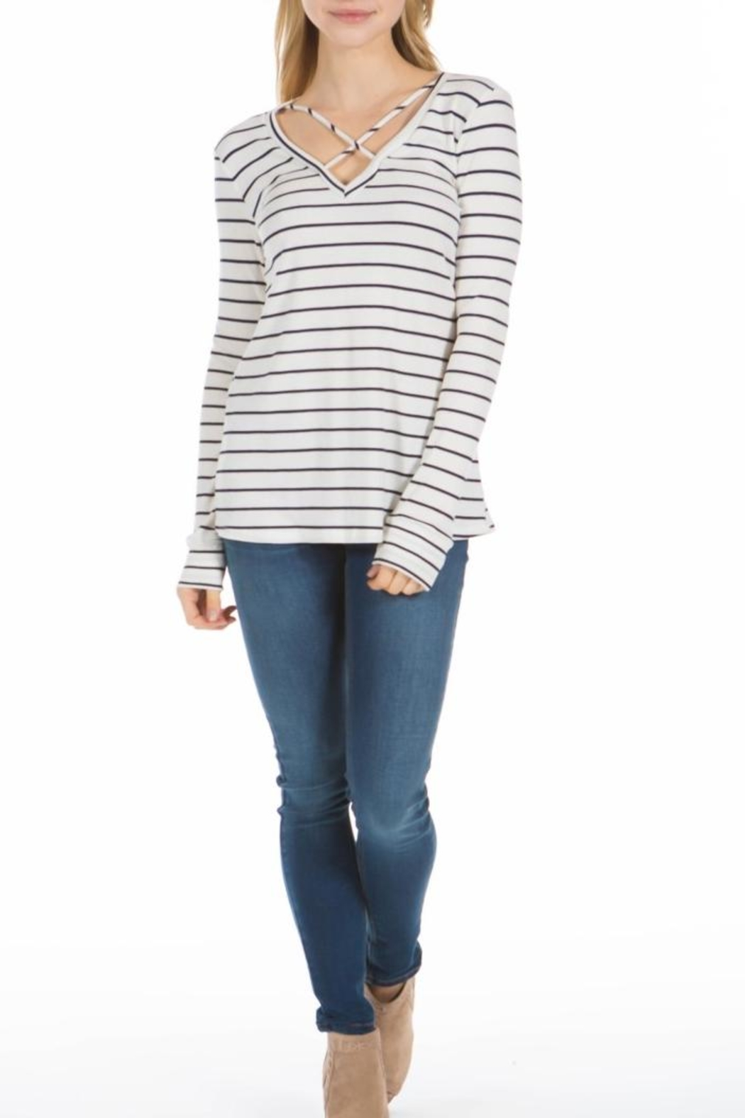 PPLA Clothing Cal Striped Knit Top - Main Image