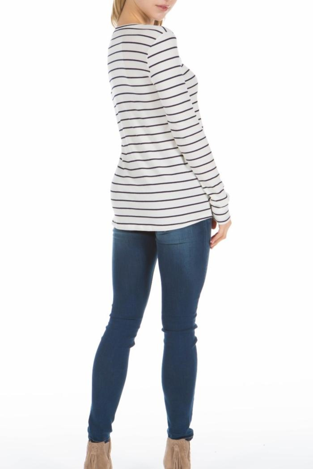 PPLA Clothing Cal Striped Knit Top - Front Full Image