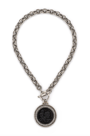 French  Kande PPROVENCE CHAIN WITH BLACK ST. CHRISTOPHER MODERN MEDALLION AND SWAROVSKI - Product Mini Image