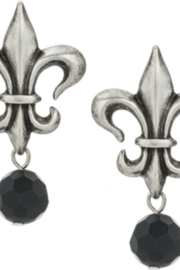 French Kande PR599-Y - Silver OX Fleur Studs with Black Onyx Dangles - Product Mini Image