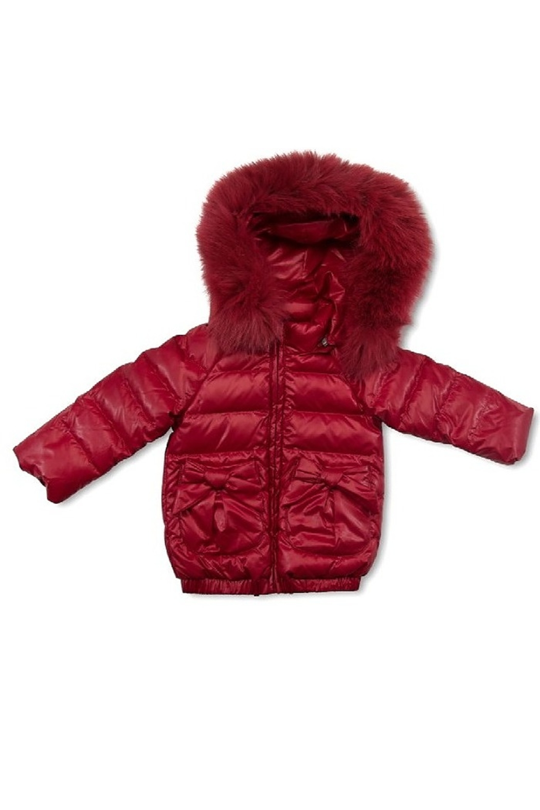 PRAMIE Pramie Down Filled Jacket with Bow Pockets for Girls | Winterwear Clothes - Front Cropped Image