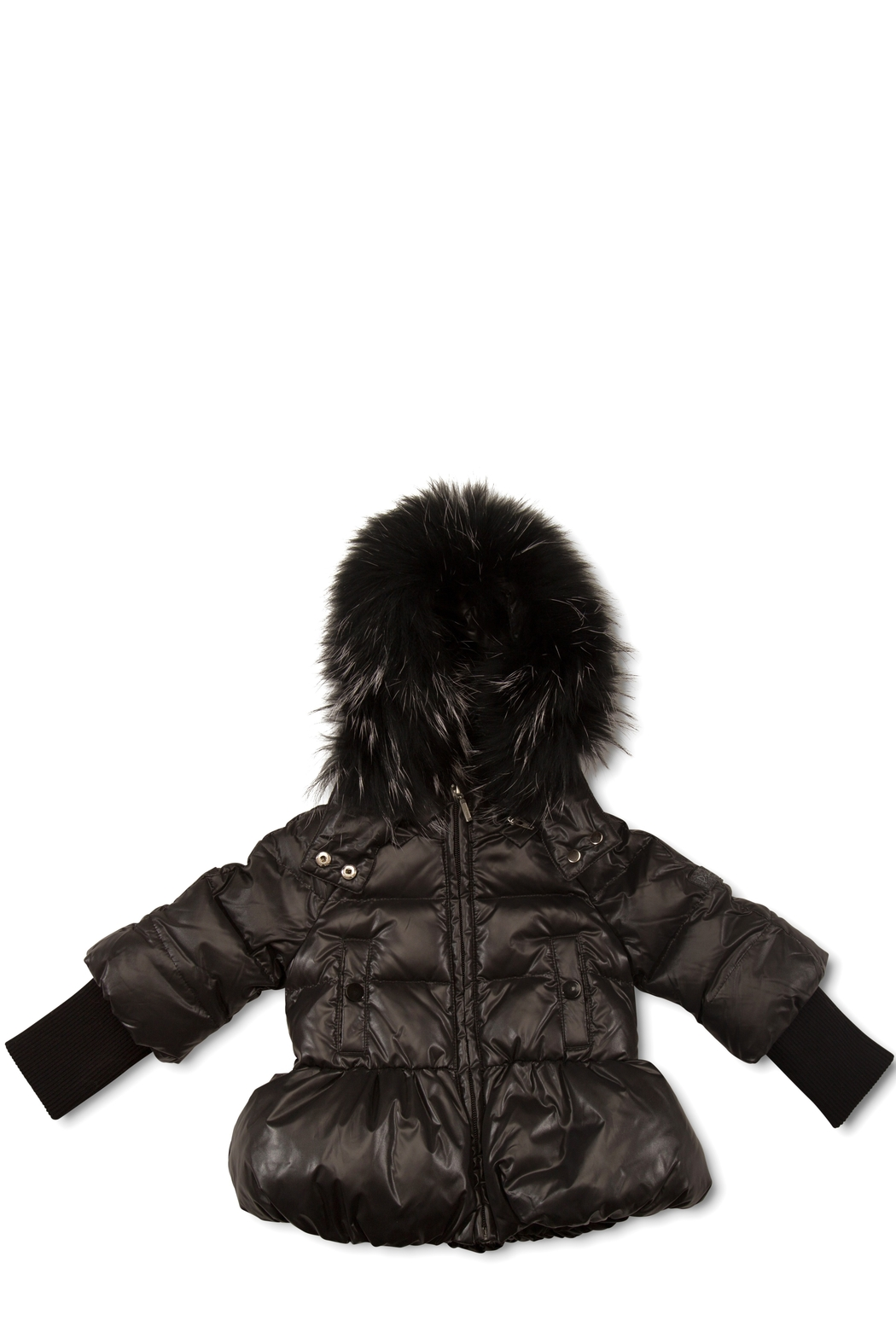 PRAMIE Pramie Down Filled Pouf Jacket with Detachable Fur for Girls | Winterwear Clothes - Main Image