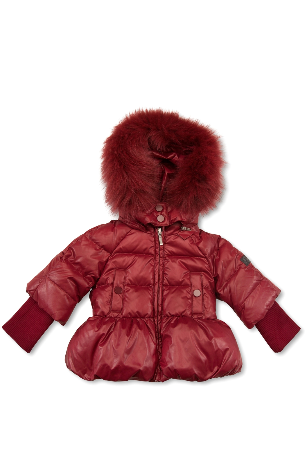 PRAMIE Pramie Down Filled Pouf Jacket with Detachable Fur for Girls | Winterwear Clothes - Front Cropped Image