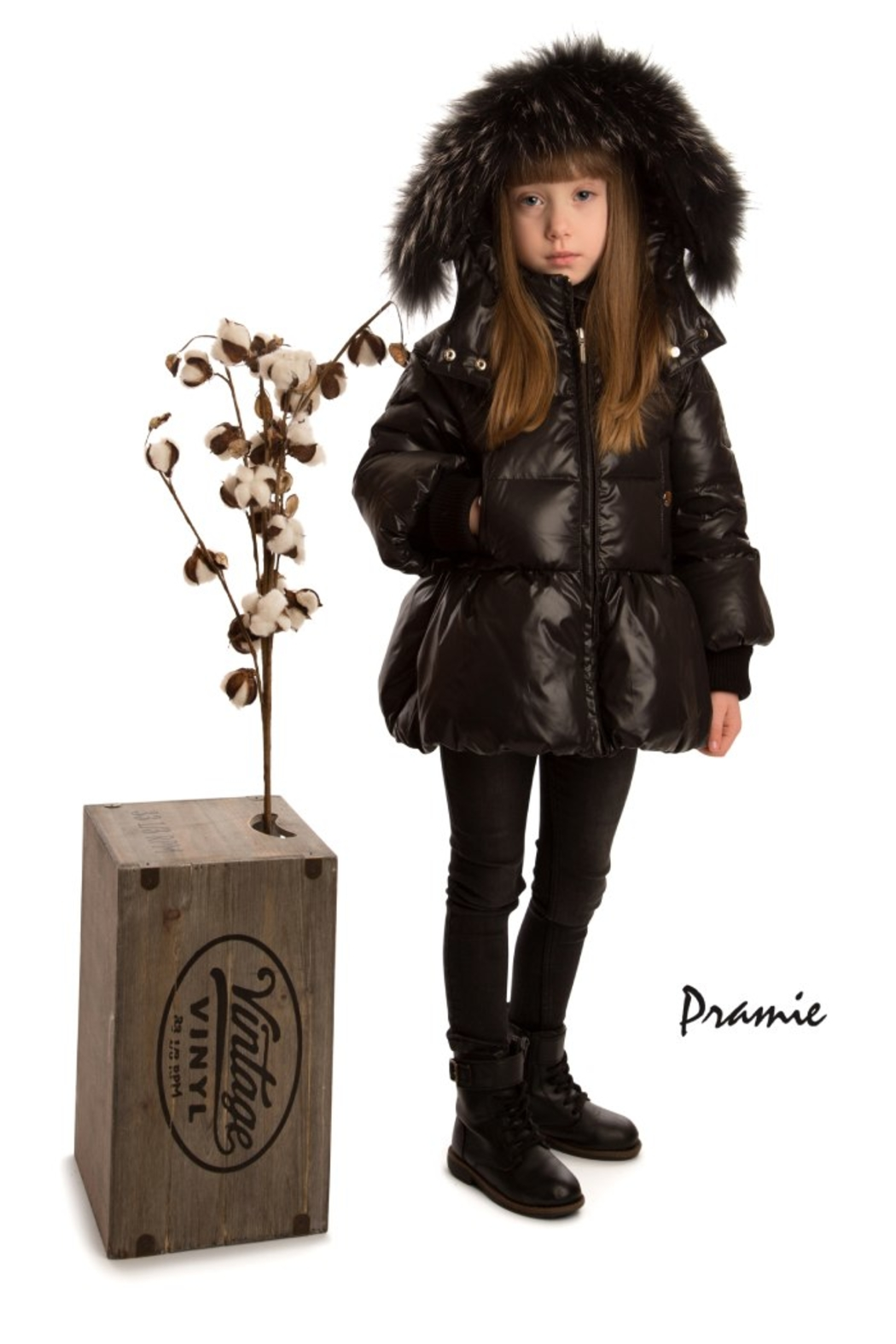 PRAMIE Pramie Down Filled Pouf Jacket with Detachable Fur for Girls | Winterwear Clothes - Front Full Image