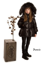 PRAMIE Pramie Down Filled Pouf Jacket with Detachable Fur for Girls | Winterwear Clothes - Front full body