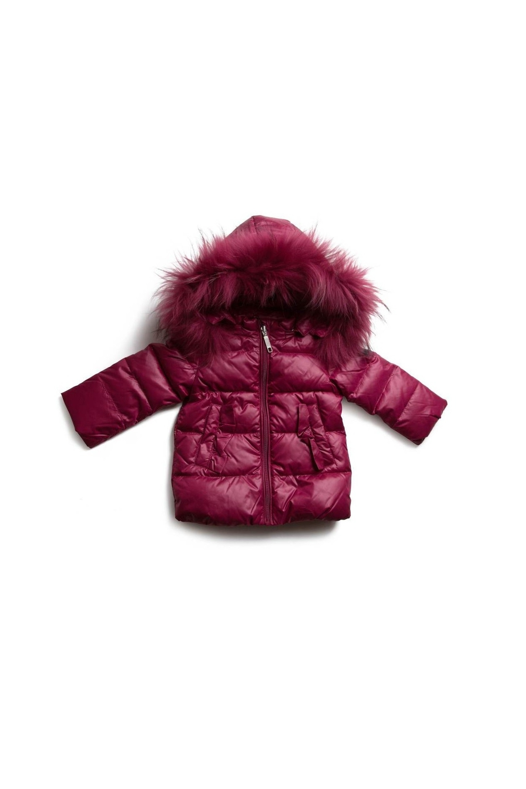 PRAMIE GIRLS HOODED FUR DOWN COAT - Front Cropped Image
