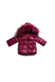 PRAMIE GIRLS HOODED FUR DOWN COAT - Front cropped