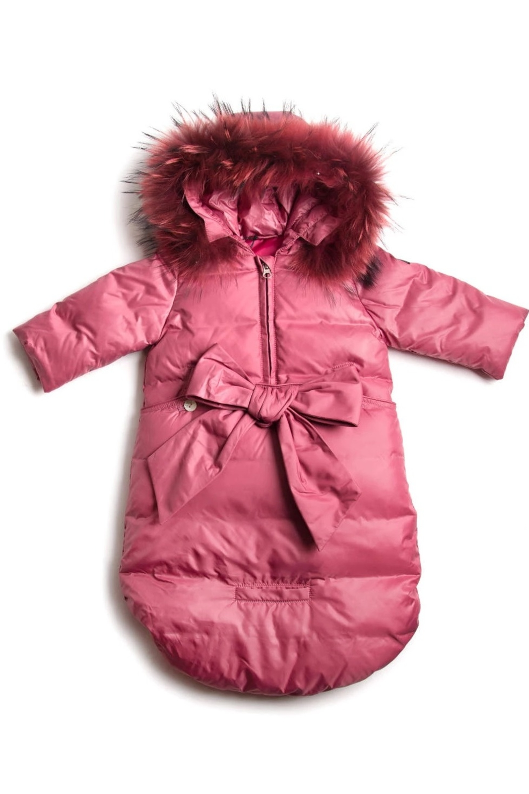 PRAMIE INFANT DOWN SNOW SUIT SACK - Girls and Boys Newborn Infant Baby Puffer Pram Bag Snowsuit Bunting - Front Cropped Image