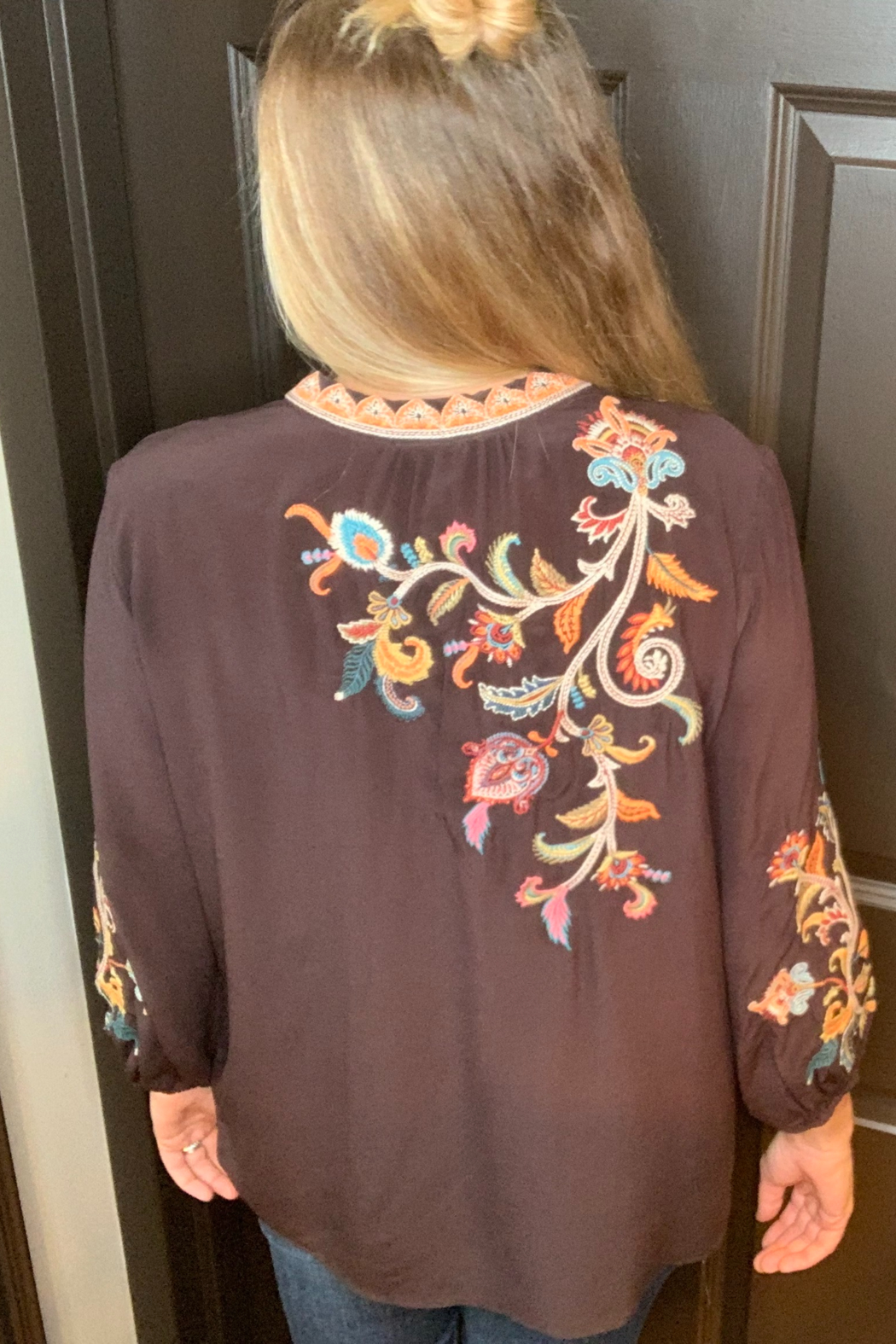 Johnny Was Pramila Swing Blouse Espresso - Front Full Image