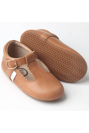 Little Love Bug Company Premium Leather Desert T-Bar Moccasin - Sand - Front cropped