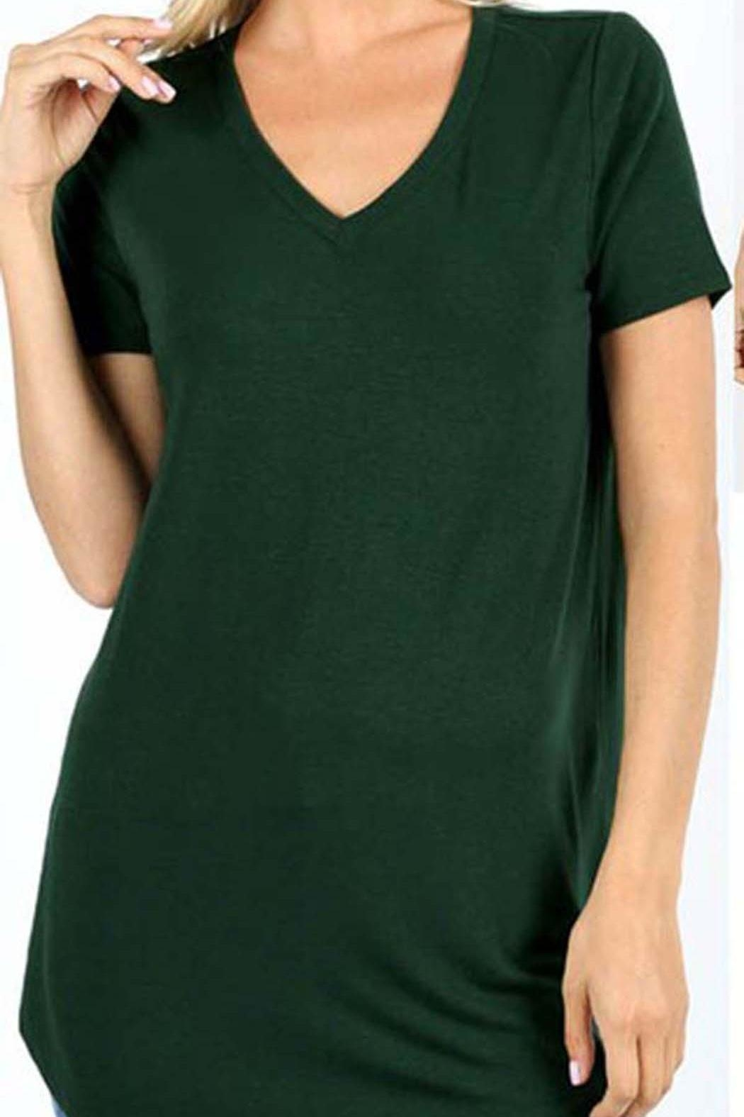 Zenana Outfitters Premium V-Neck Top - Front Cropped Image