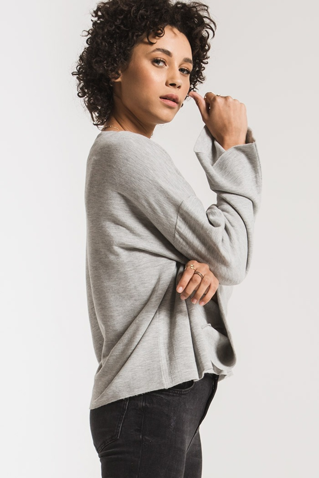 z supply Premo Fleece Flare Sleeve Top - Side Cropped Image