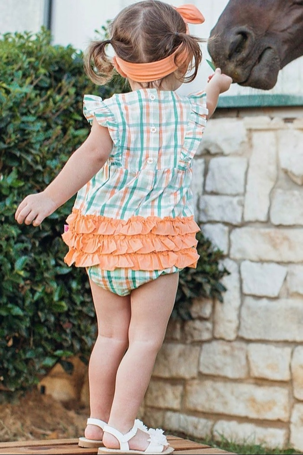 Ruffle Butts Presley Plaid Waterfall Bubble - Back Cropped Image