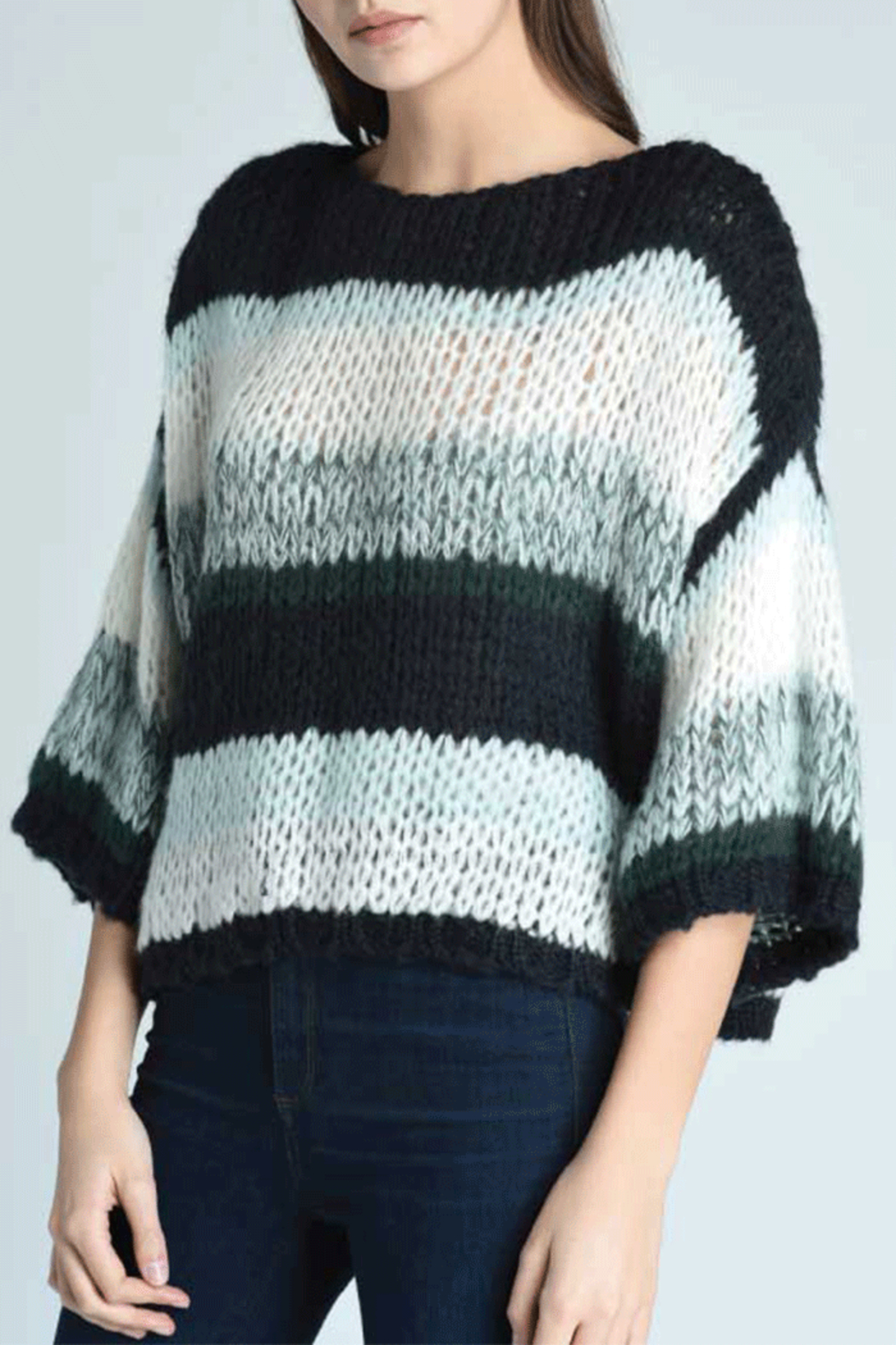 Press Oversized Stripe Sweater - Front Cropped Image