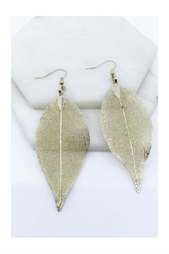 Shoptiques Product: Pressed Natural-Leaf Earrings