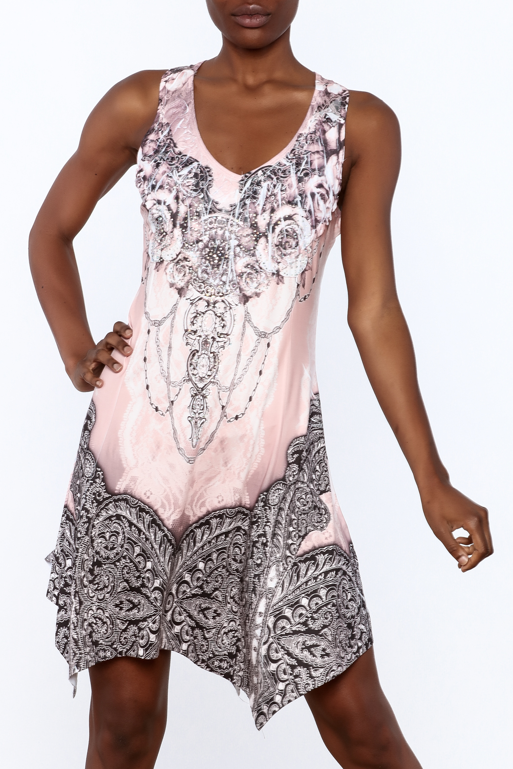 Pretty Angel Printed Bling Dress - Front Cropped Image