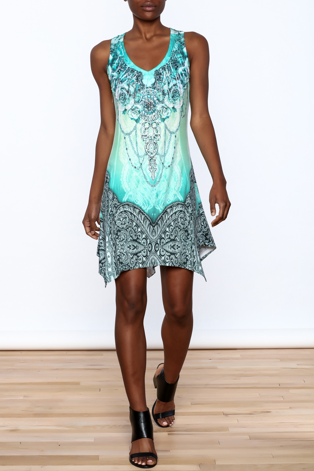 Pretty Angel Printed Bling Dress - Front Full Image