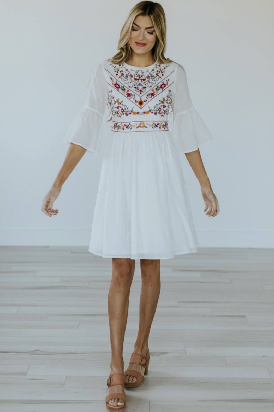 Roolee Pretty Embroidered Dress - Side Cropped Image