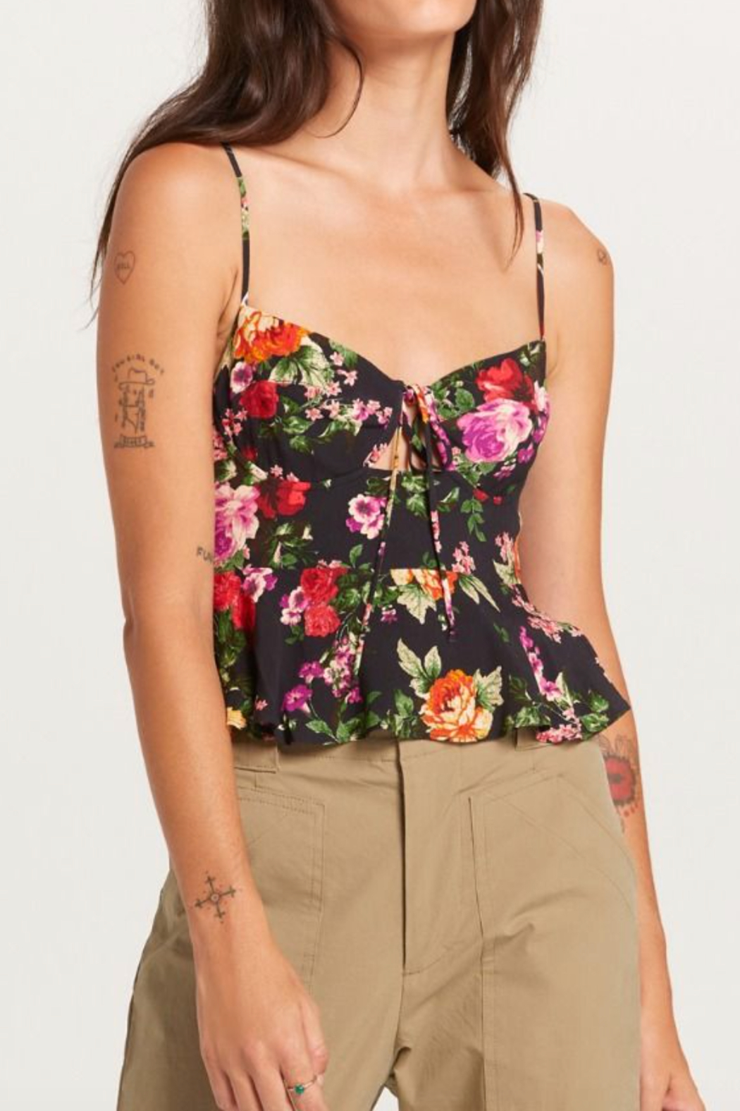 Olivaceous  Pretty Floral Tank - Main Image
