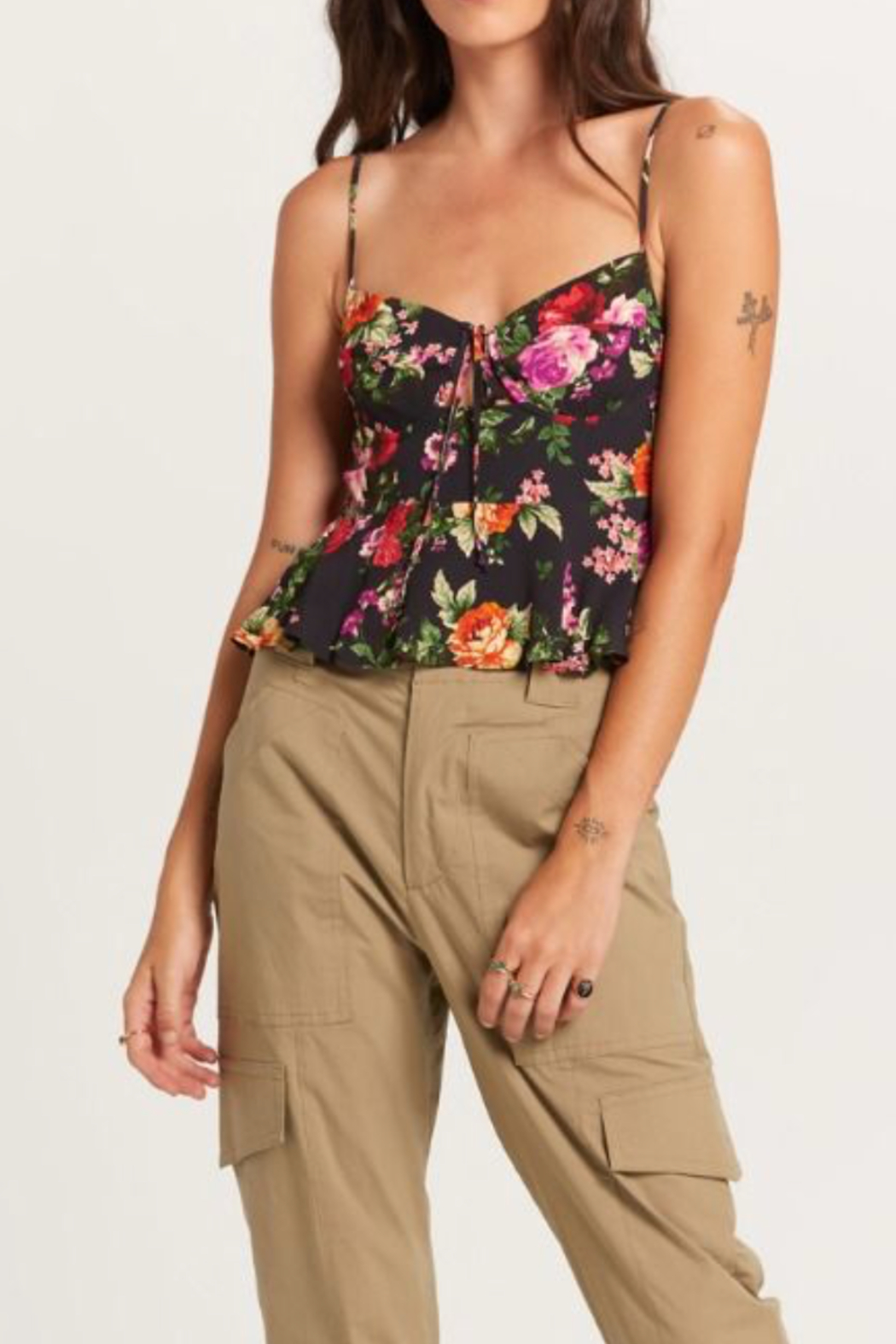 Olivaceous  Pretty Floral Tank - Front Full Image