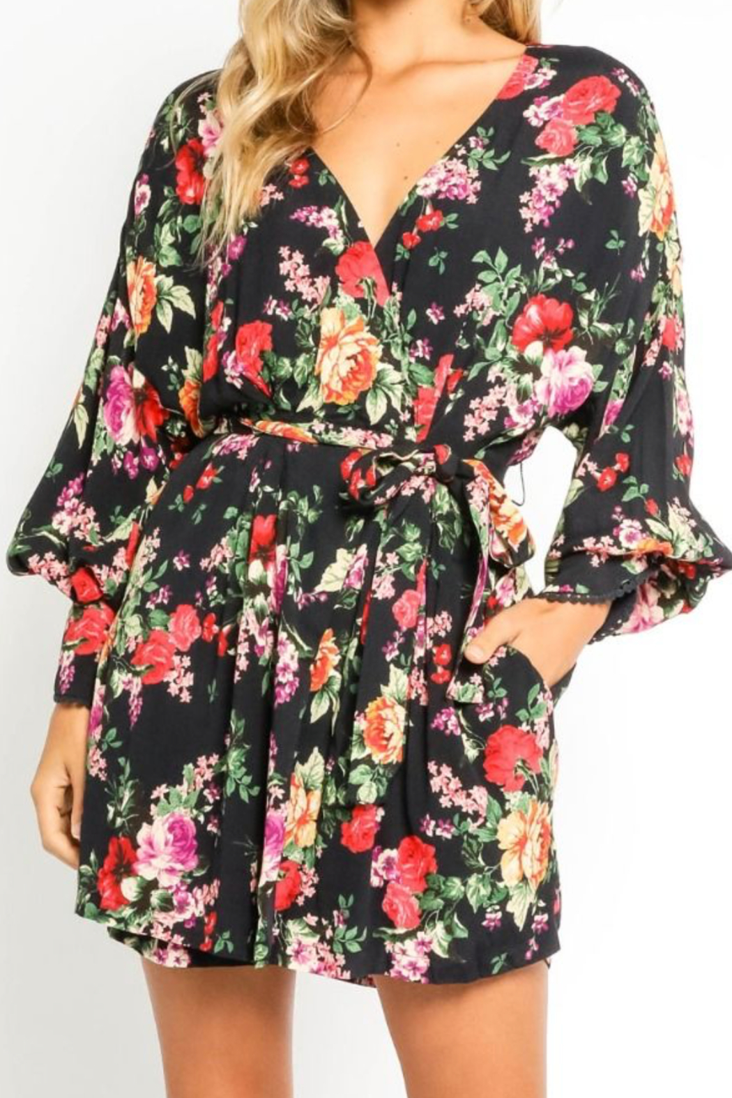 Olivaceous  Pretty Floral Wrap Dress - Front Full Image