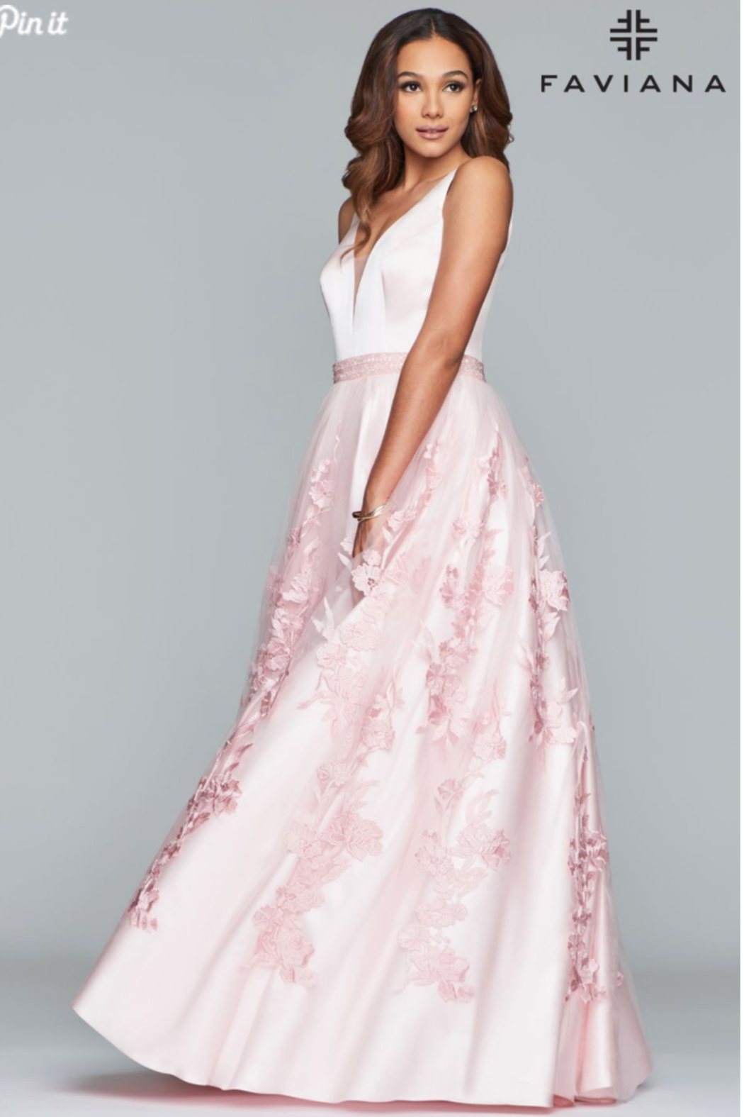 Faviana Pretty In Pink Gown - Front Full Image