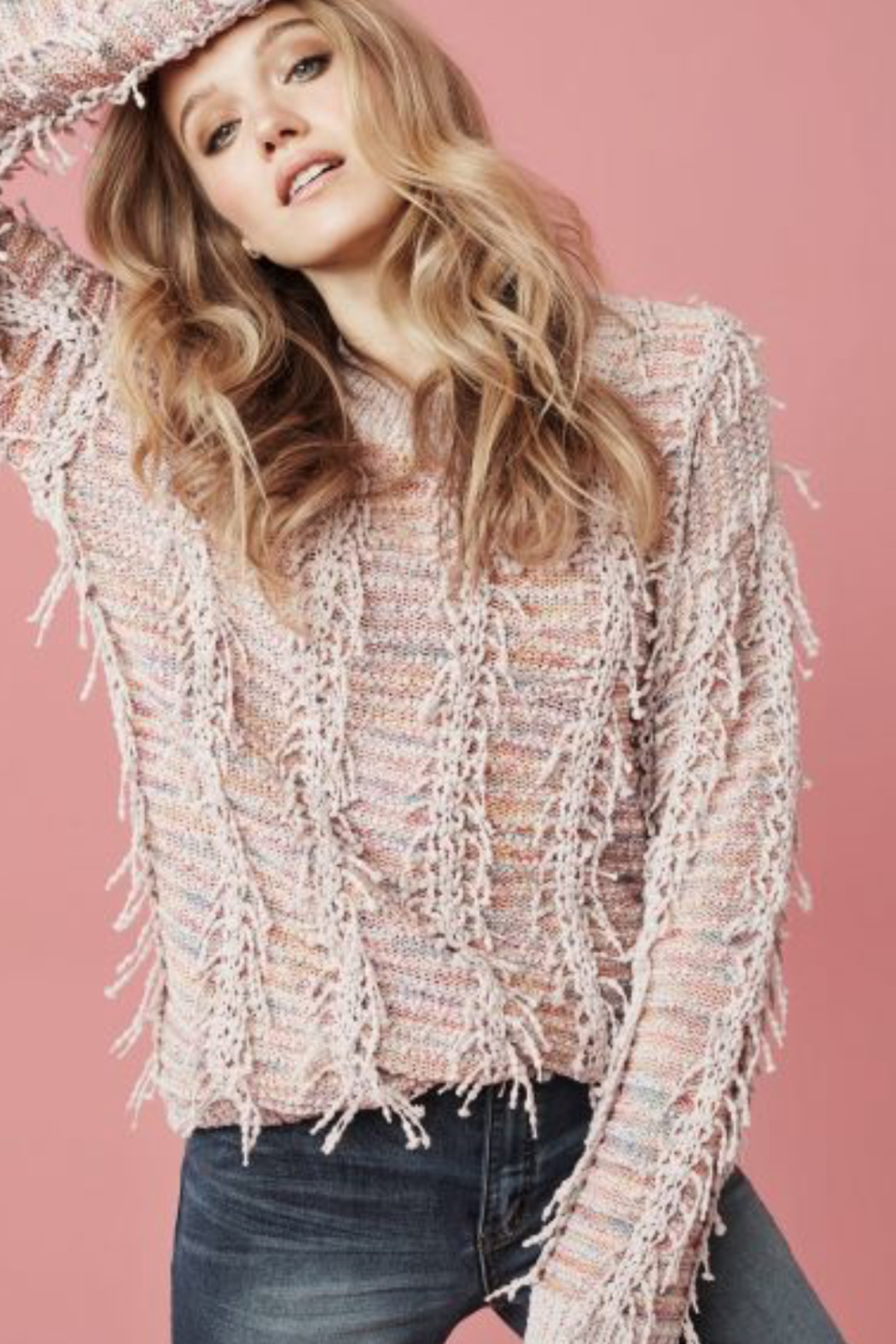Tribal Pretty Pink Sweater - Side Cropped Image
